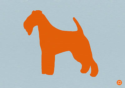 Fox Terrier Orange Print by Naxart Studio