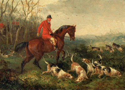 Foxhunting At Cover Signed And Dated In Brown Paint Print by Litz Collection