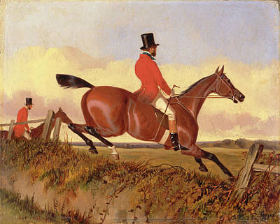 Clearing Painting - Foxhunting Clearing A Bank, John Dalby, Active 1826-1853 by Litz Collection