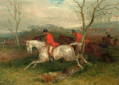 Crying Painting - Foxhunting Coming To A Fence Full Cry Signed And Dated by Litz Collection