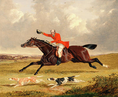 Foxhunting Encouraging Hounds Capping Hounds And Full Cry Print by Litz Collection