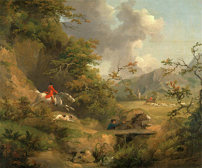 Foxhunting In Hilly Country Signed And Dated Art Print