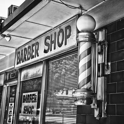 Fox's Barber Shop Black And White Art Print by David Waldo