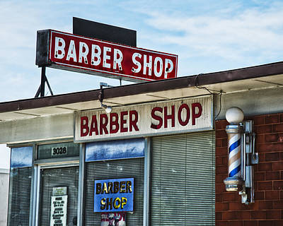 Fox's Barber Shop Neon Art Print by David Waldo