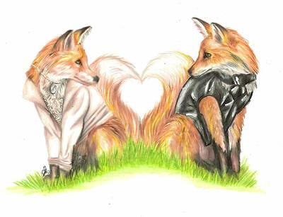 Drawing - Foxy Wedding Couple by Scarlett Royal
