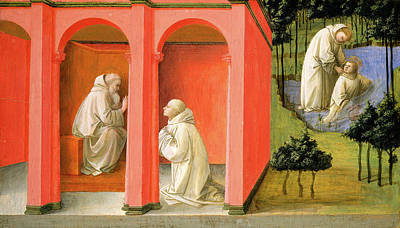 Placid Drawing - Fra Filippo Lippi, Saint Benedict Orders Saint Maurus by Litz Collection