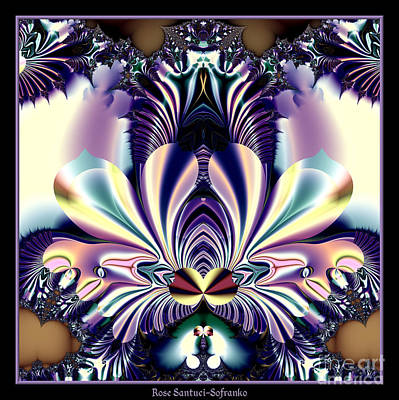 Digital Art - Fractal 26 Jeweled Tone Lotus Flower by Rose Santuci-Sofranko