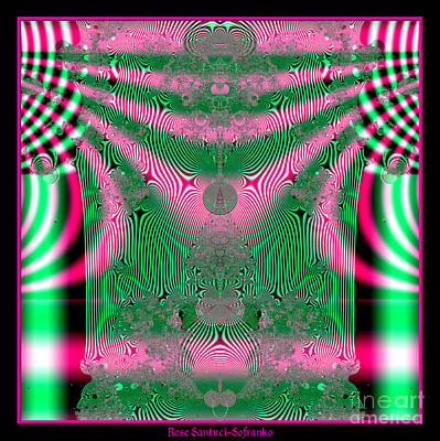 Digital Art - Fractal 34 Kimono In Pink And Green by Rose Santuci-Sofranko