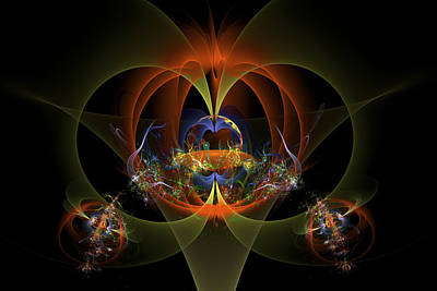 Fractal Art - Psychedelic Abstract Image - Digital Art - Red Yellow Black  Art Print