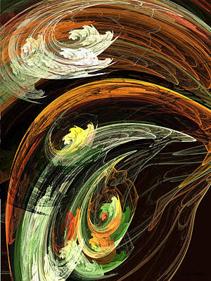 Digital Art - Fractal - Autumn Leaves Swirling Wind by Susan Savad