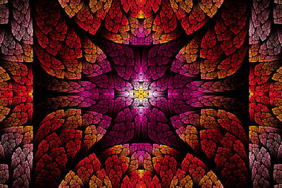 Fractal - Aztec - The All Seeing Eye Art Print by Mike Savad