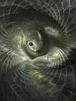 Critter Digital Art - Fractal Bird In Its Nest by Carol and Mike Werner