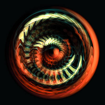Fish. Spherical Digital Art - Fractal Bubble 2 by Hakon Soreide