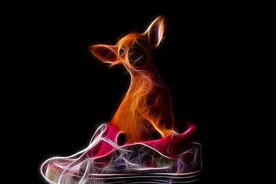 Chihuahua Digital Art - Fractal Chihuahua In A Shoe by Andre Faubert