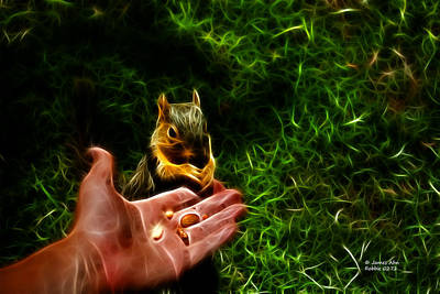 Fractal - Feeding My Friend - Robbie The Squirrel Art Print by James Ahn