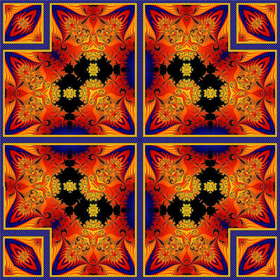 Digital Art - Fractal Flames Quad by Charmaine Zoe