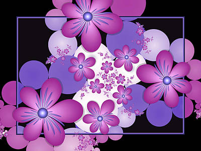 Fractal Flowers Modern Art Art Print