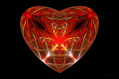 Fractal - Heart - Open Heart Print by Mike Savad