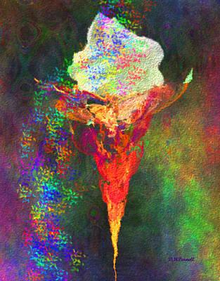 Frozen Yogurt Digital Art - Fractal Ice Cream Cone by Diane Parnell