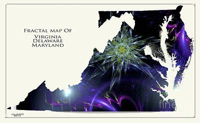 Digital Digital Art - Fractal Map Of Virginia Delaware And Maryland by Melissa Messick
