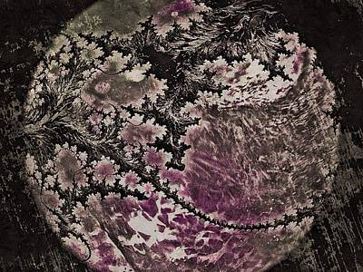 Print featuring the digital art Fractal Moon by Susan Maxwell Schmidt