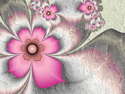 Fractal Nostalgic Flowers 2 Art Print