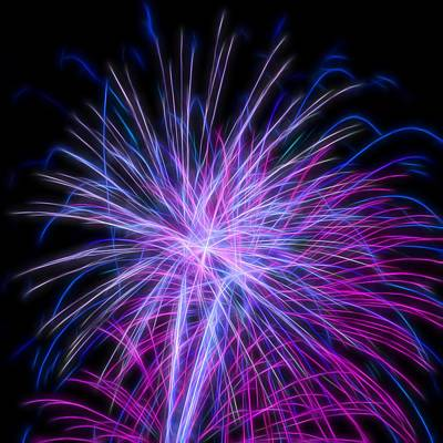 Photograph - Fractal Purple Fireworks #2 by Yulia Kazansky