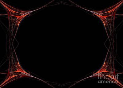Print featuring the digital art Fractal Red Frame by Henrik Lehnerer