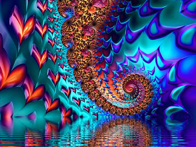 Digital Art - Fractal Sea Of Love With Hearts by Matthias Hauser
