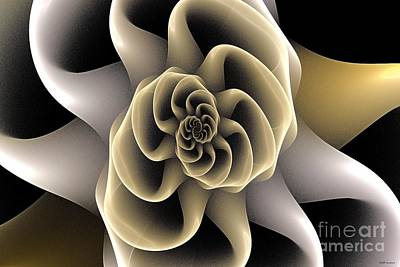 Gold And Gray Abstract Digital Art - Fractal Spiral Bloom by Elizabeth McTaggart