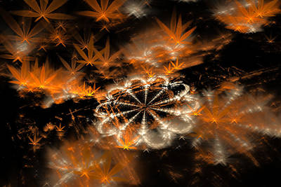 Weed Digital Art - Fractal Weed Brown Orange Golden by Matthias Hauser