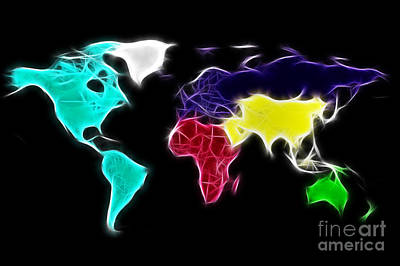 Fractal World Map Print by Delphimages Photo Creations
