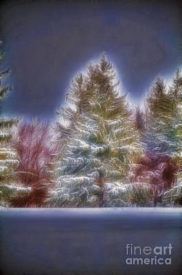 Fractalius Winter Pines Art Print by Jim Lepard