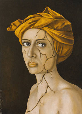 Depression Painting - Fractured Identity In Gold by Leah Saulnier The Painting Maniac