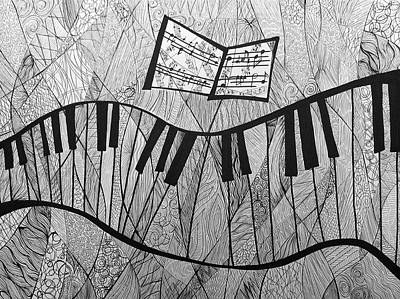 Fractured Piano Pen And Ink Drawing Original by Ashley Grebe