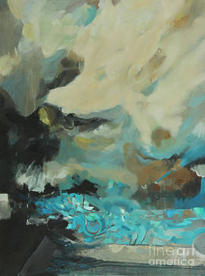 Turbulent Skies Painting - Fractured Turquoise by Timothy Scott