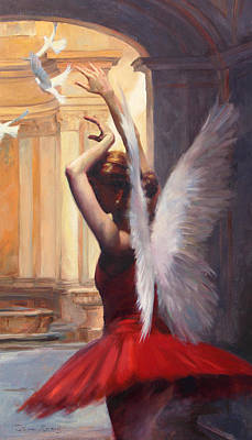 Doves Painting - Fragile Grace by Anna Rose Bain