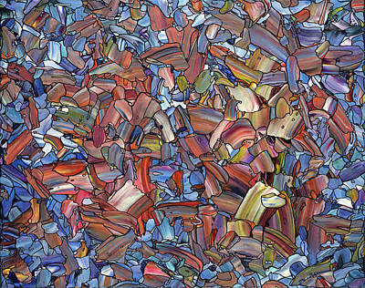 Non-objective Painting - Fragmented Rose by James W Johnson