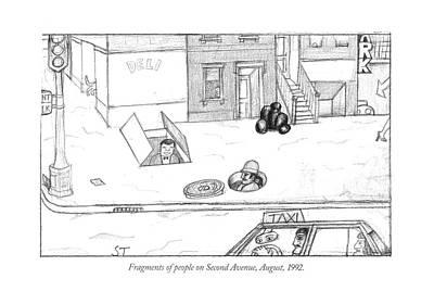 Manhattan Drawing - Fragments Of People On Second Avenue by Saul Steinber