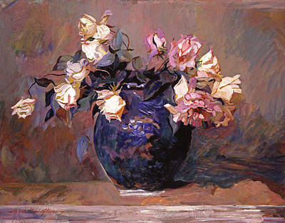 Pottery Painting - Fragrant Rose Petals by David Lloyd Glover