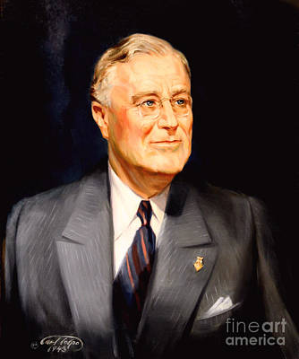 Painting - Frainklin Delano Roosevelt by Art By Tolpo Collection