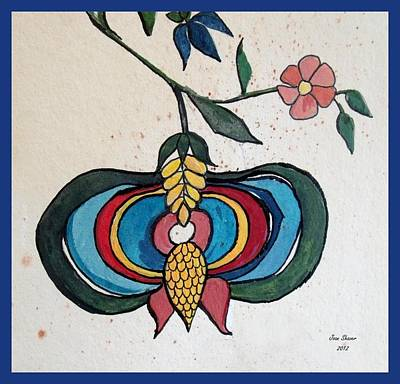 Fraktur Painting - Fraktur Flower by Joan Shaver