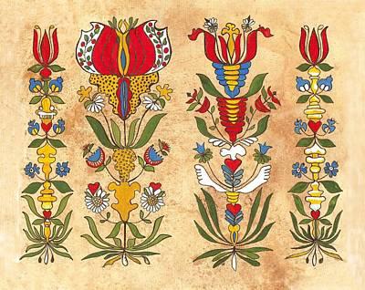 Fraktur Painting - Fraktur Flowers Of Ephrata  by Joan Shaver