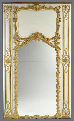 Carved Glass Painting - Frame For A Mirror With Two Parcloses Unknown Paris by Litz Collection
