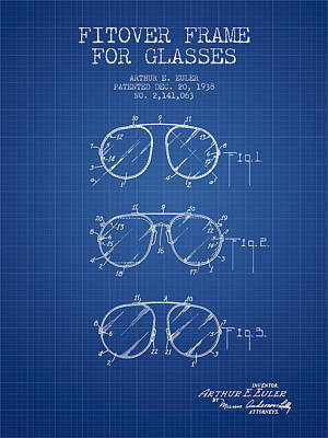 Glass Wall Digital Art - Frame For Glasses Patent From 1938 - Blueprint by Aged Pixel