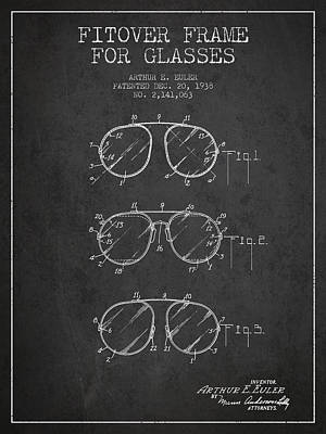 Frame For Glasses Patent From 1938 - Dark Art Print by Aged Pixel