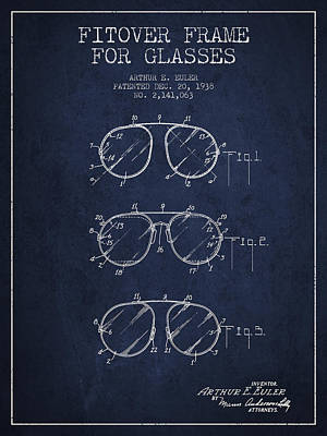 Frame For Glasses Patent From 1938 - Navy Blue Art Print by Aged Pixel