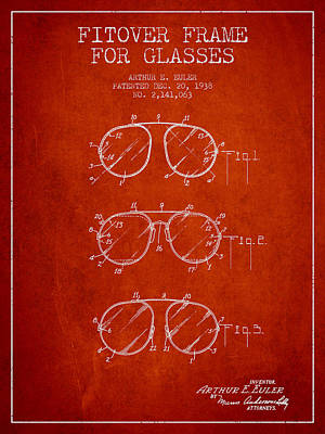 Frame For Glasses Patent From 1938 - Red Art Print by Aged Pixel