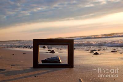 Frame On The Beach At Sunset Art Print by Michal Bednarek