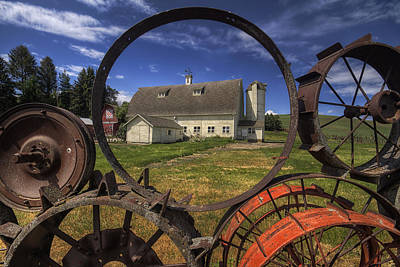 White Barn Photograph - Framed By Wheels  by Mark Kiver